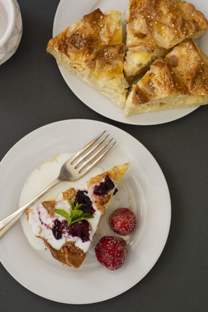 Pieces of pie with cheese with fruits. Hoemmade cottage cheese pie, pastry or bakery concept