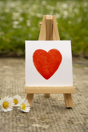 Red heart, hand draw watercolor heart on white sticker. love concept