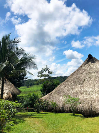 Embera tribe houses - an authentic thatched hut in the indigenous territory in Panama, Spain.