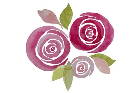 Pink watercolor roses composition, illustration. Elegant hand-painted flowers isolated. Archivio Fotografico - 138200027