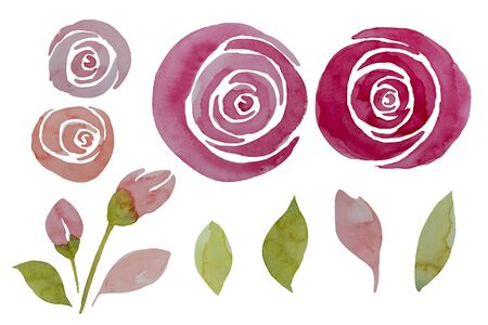 Pink watercolor roses and leaves set, illustration. Elegant hand-painted flowers isolated.