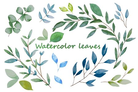 Hand drawn leaves, watercolor illustration. Green and blue spring, easter botanical elements isolated. Archivio Fotografico - 138200755
