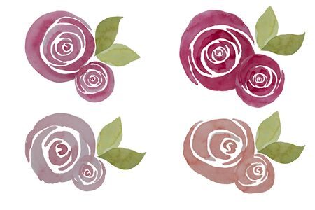 Pink watercolor roses composition, illustration. Elegant hand-painted flowers isolated.