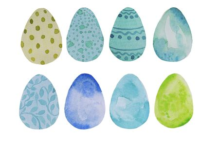 Watercolor, hand drawn blue and green Easter eggs set greeting card illustration, isolated on white, design elements.