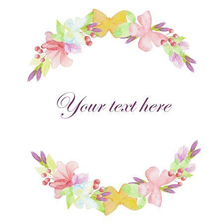 Corona floreale dell'acquerello, illustrazione disegnata a mano con farfalla e fiori - per design, invito, biglietto di auguri, isolato.