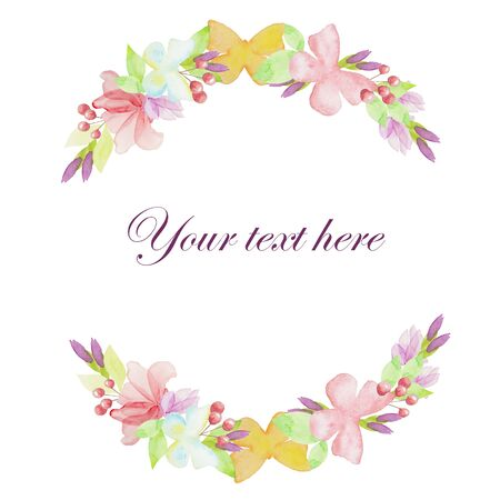 Couronne florale à l'aquarelle, illustration dessinée à la main avec papillon et fleurs - pour la conception, l'invitation, la carte de voeux, isolée.