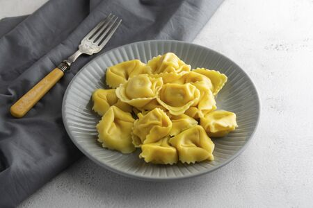 Cooked tortellini on a plate, close up pasta, italian food close up. Reklamní fotografie