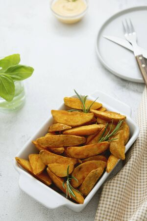 Fried potatos with herbs and sauce. Homemade roasted potatoes. Stok Fotoğraf