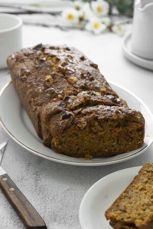 Healthy banana bread with carrots and oats , healthy homemade cake