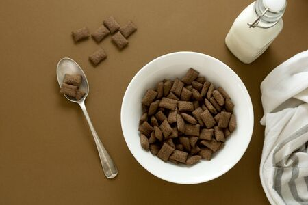 Chocolate cereal rings in a bowl