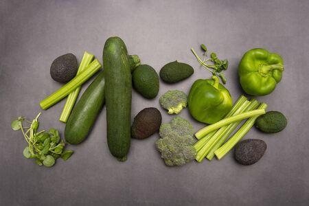 Green vegetables. Raw organic organic assorted vegetables. Detox, healthy foods.