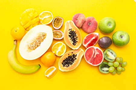 Summer abstract background with mix of various exotic fruits.