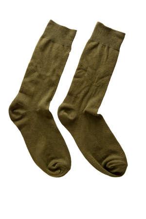 Pair of green socks isolate on white background.