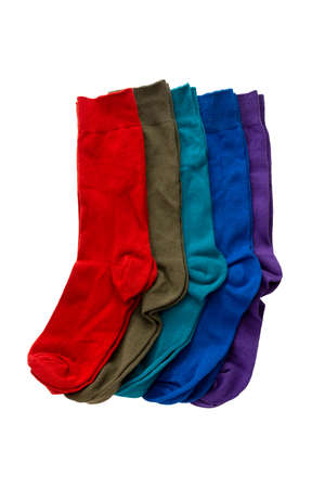 Top view of new colorful socks isolate on white background. 免版税图像
