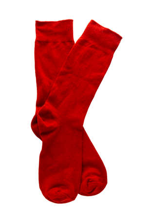 Red socks isolate on white background.