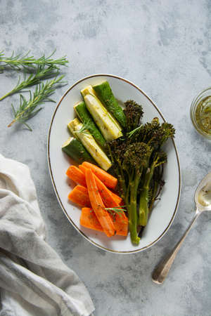 Roasted vegetables, broccoli, carrots, zzucchini. Healthy food, healthy diet.