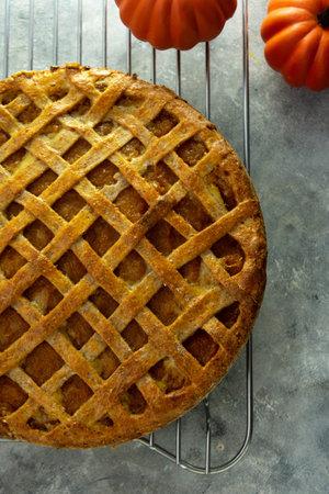 Pumpkin Pie or tart, thanksgiving, halloween or autumn homemade dessert.