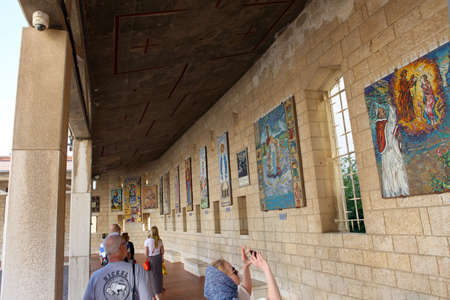 Nazareth, Israel - 10 May 2019: Church (Basilica of the Annunciation) in the center of Nazareth. Roman Catholic basilica constructed from 1960 to 1969. Editorial