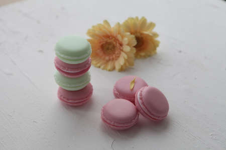 A french sweet delicacy, macaroons variety closeup.macaroon colourful texture.