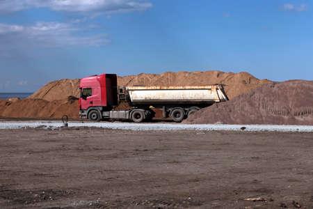 big old roadworking tipper construction concept