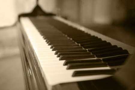 Piano side view with keys lost in the light. Piano keys side view with shallow depth of field. Piano keys monochrome. Keyboard extending to the horizon on a close up image of a synthesizer.