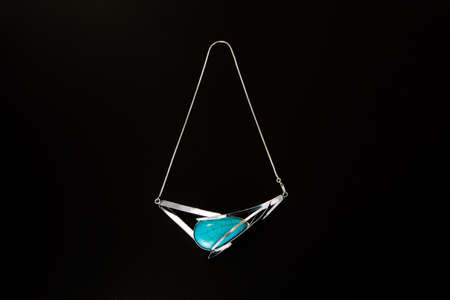 Luxurious turquoise necklace with beautiful silver accents Zdjęcie Seryjne