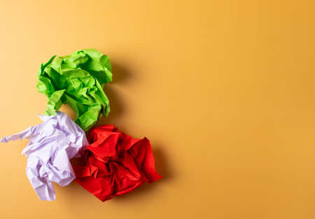 balls of crumpled paper as a paper recycling concept