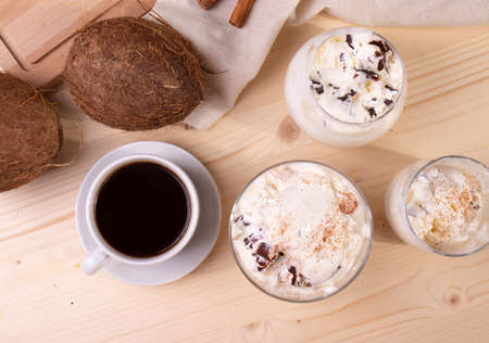 vanilla chocolate ice cream and a cup of coffee