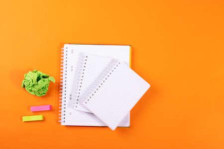 stationary concept on orange background