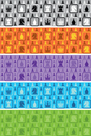 chess rook: set of 4 seamless pattern with icons of all chess pieces