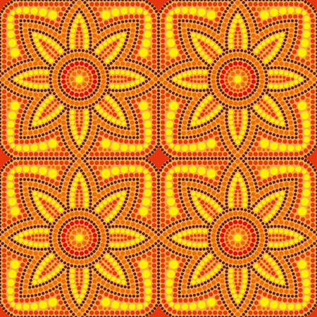 patten: seamless pattern with dot painting sunflower