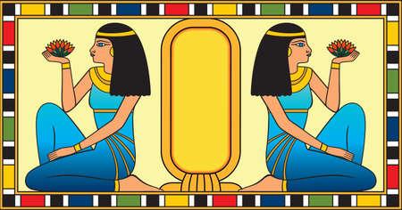 Two sitting egyptian women holding a lotus flower in the hand two sitting egyptian women holding a lotus flower in the hand illustration stock vector mightylinksfo