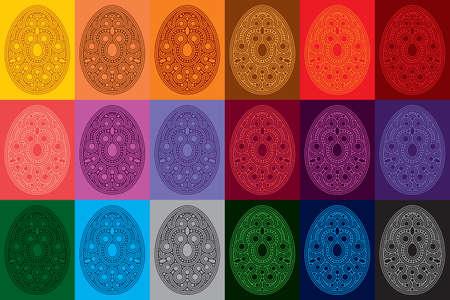 set of 18 decorative eggs. vetor illustration.