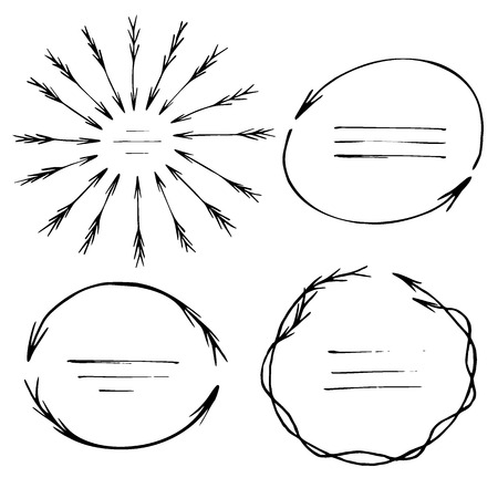 sketched arrows: Set of hand sketched templates made of arrows Illustration