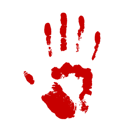 Red handprint isolated on white