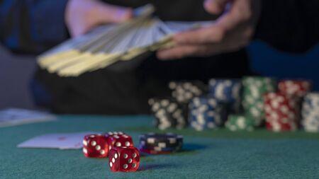poker chips, poker dice, money