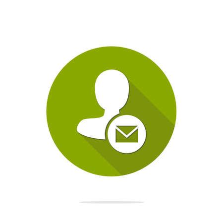 send mail: Vector illustration of flat male user send mail action icon. Illustration