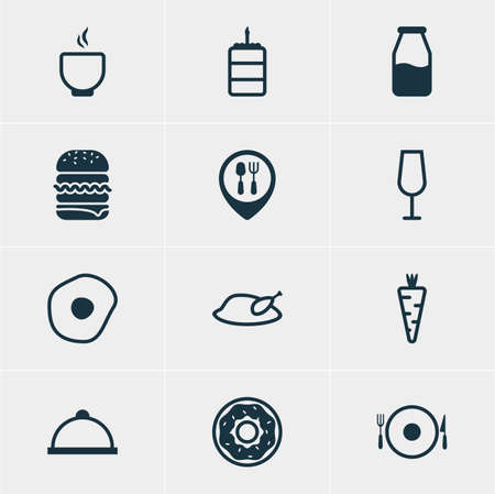 nonfat: Vector Illustration Of 12 Cooking Icons. Editable Pack Of Grill, Restaurant, Veggie And Other Elements.