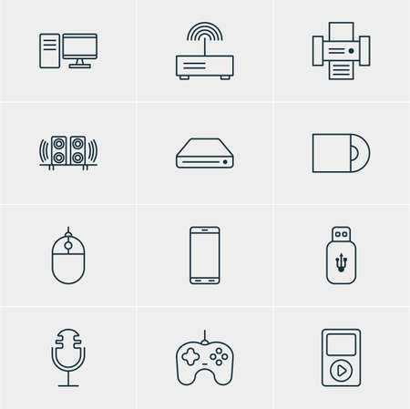 ssd: Vector Illustration Of 12 Hardware Icons. Editable Pack Of Loudspeaker, Smartphone, Dvd Drive And Other Elements.