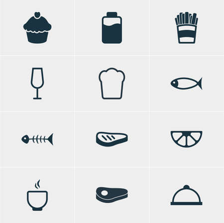 Vector Illustration Of 12 Cuisine Icons. Editable Pack Of Potato, Bowl, Sirloin And Other Elements.