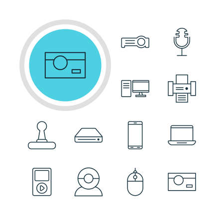 Vector Illustration Of 12 Accessory Icons. Editable Pack Of Computer, Photocopier, PC And Other Elements. Illustration