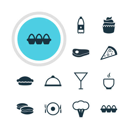 Vector Illustration Of 12 Cuisine Icons. Editable Pack Of Biscuit, Flan, Pizzeria And Other Elements. Illustration