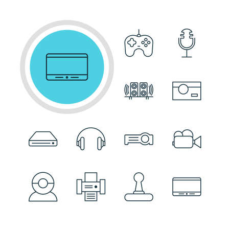 Vector Illustration Of 12 Hardware Icons. Editable Pack Of Photocopier, Floodlight, Game Controller And Other Elements. Illustration