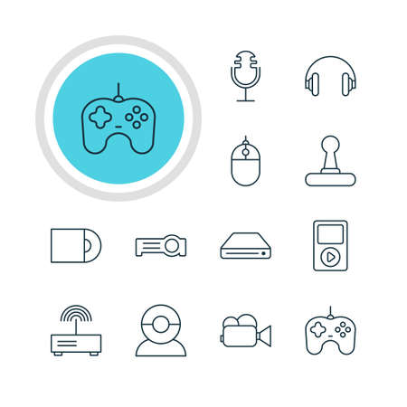 lens unit: Vector Illustration Of 12 Device Icons. Editable Pack Of Joypad, Dvd Drive, Camcorder And Other Elements. Stock Photo