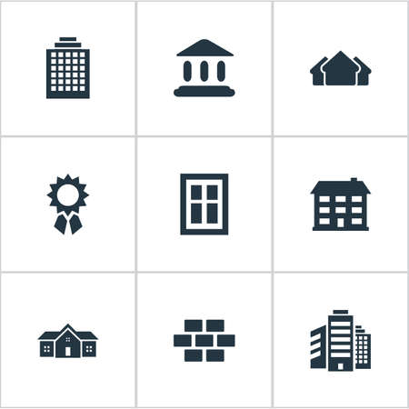 Set Of 9 Simple Structure Icons. Can Be Found Such Elements As Glazing, Superstructure, Reward And Other.