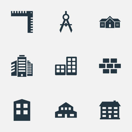 residential structure: Set Of 9 Simple Structure Icons. Can Be Found Such Elements As Construction, Residential, Stone And Other.