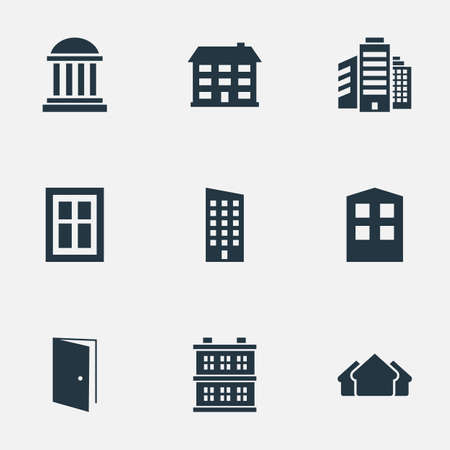 domicile: Set Of 9 Simple Structure Icons. Can Be Found Such Elements As Floor, Academy, School And Other.
