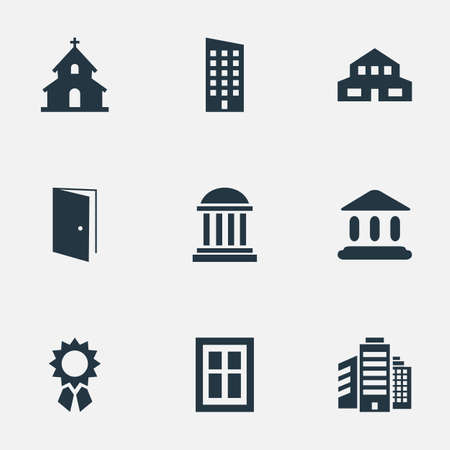 superstructure: Set Of 9 Simple Construction Icons. Can Be Found Such Elements As Superstructure, Academy, Booth And Other.