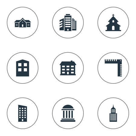 superstructure: Set Of 9 Simple Construction Icons. Can Be Found Such Elements As Superstructure, Floor, Residence And Other.