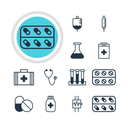 hypothesis: Vector Illustration Of 12 Medical Icons. Editable Pack Of Pulse, Antibody, Medicine And Other Elements. Illustration